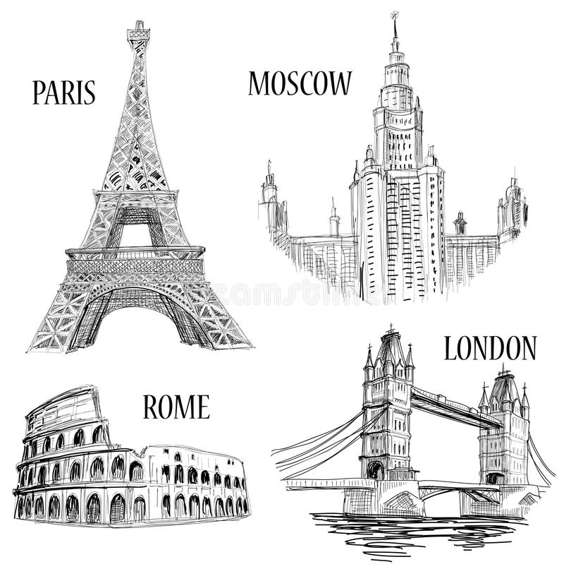 Símbolos europeos de las ciudades stock de ilustración