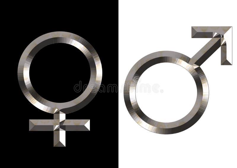 Símbolos fêmeas e masculinos ilustração royalty free