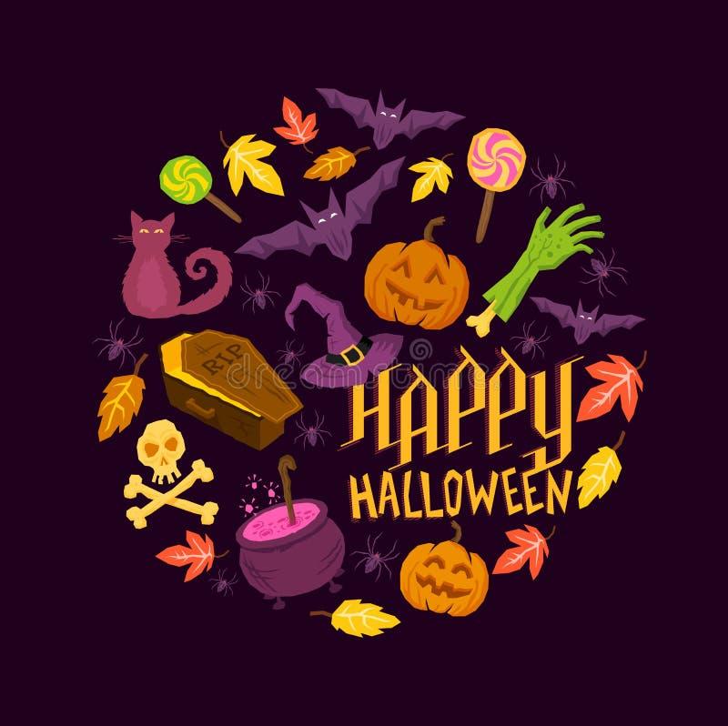 Símbolos fantasmagóricos de Halloween ilustración del vector