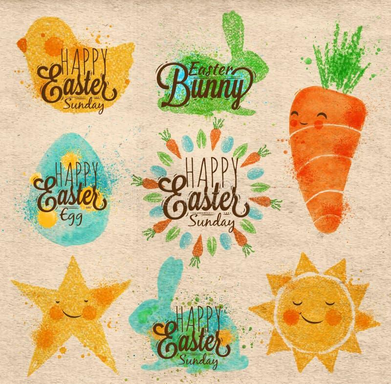Símbolos felices Kraft de pascua stock de ilustración