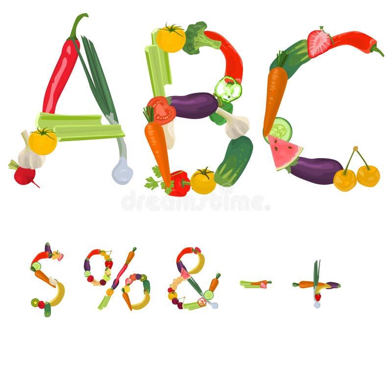 Símbolos hechos de frutas y verduras ilustración del vector