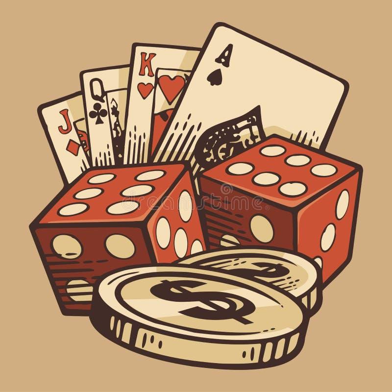 Símbolos hechos a mano del vintage determinado del vector del casino Diseño retro stock de ilustración