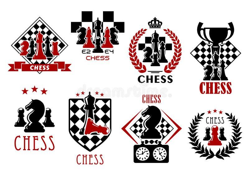 Símbolos heráldicos y emblemas del juego de ajedrez stock de ilustración