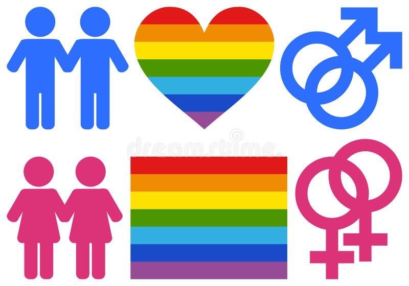 Símbolos homosexuales y de la lesbiana stock de ilustración