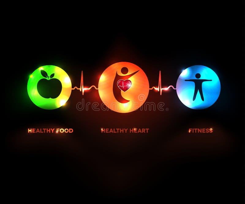 Símbolos humanos saudáveis do conceito ilustração do vetor