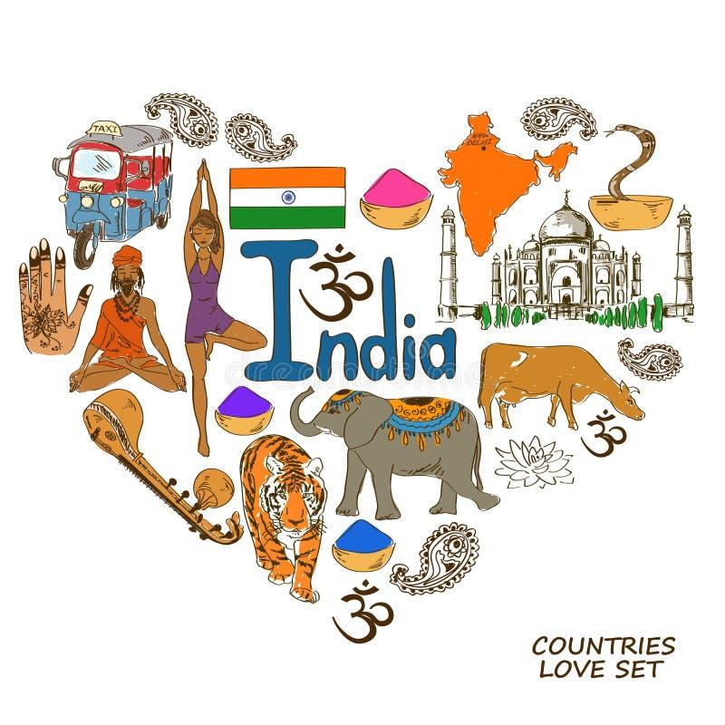 Símbolos indios en concepto de la forma del corazón ilustración del vector