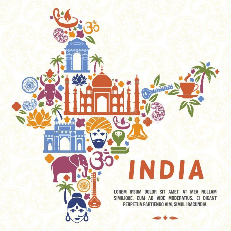 Símbolos indios tradicionales bajo la forma de mapa de la India ilustración del vector