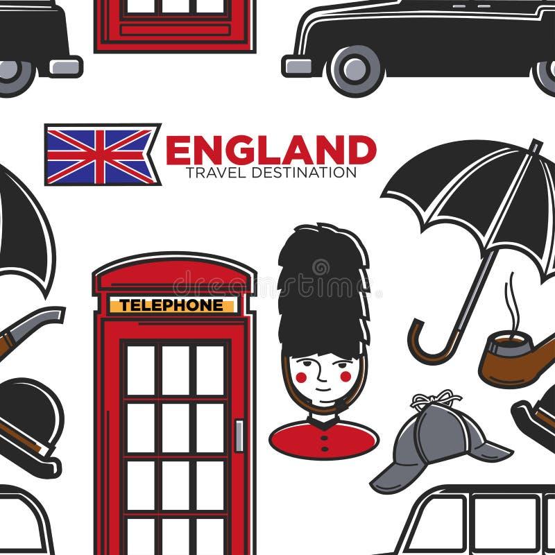Símbolos ingleses del modelo inconsútil del destino del viaje de Inglaterra stock de ilustración