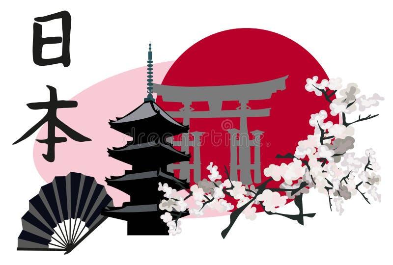 Símbolos japoneses ilustración del vector