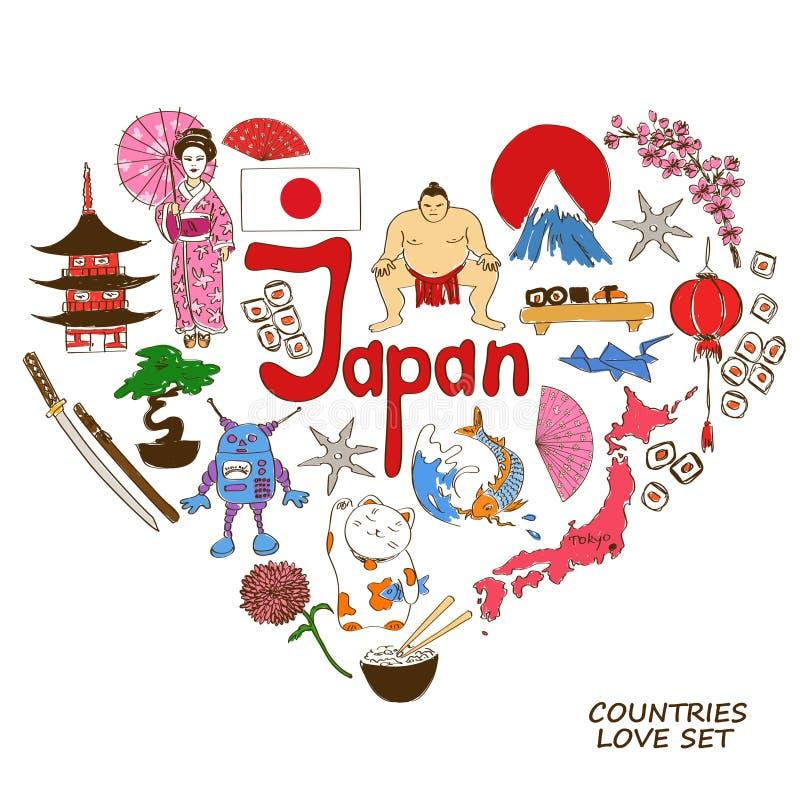Símbolos japoneses en concepto de la forma del corazón ilustración del vector