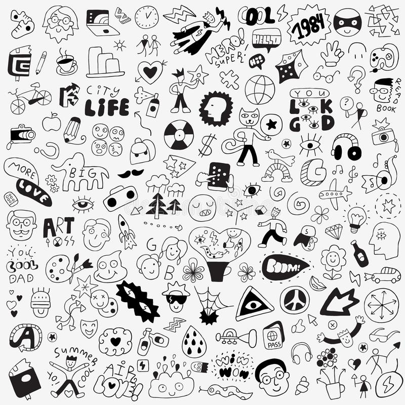Símbolos, letras, caracteres - garabato grande fijado, elementos del diseño libre illustration