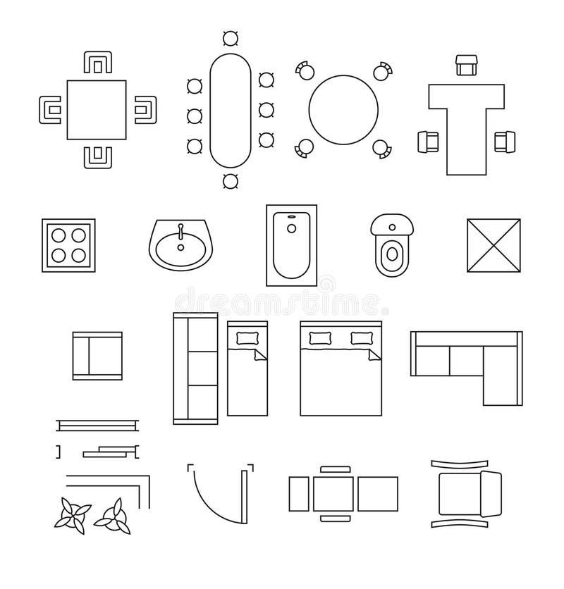 Símbolos lineares do vetor da mobília Ícones da planta baixa ilustração stock