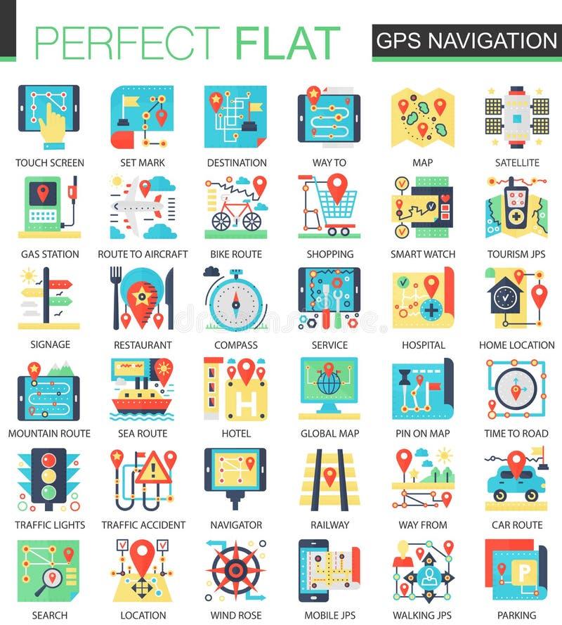 Símbolos lisos complexos do conceito do ícone do vetor do lugar da navegação dos Gps para o projeto infographic da Web ilustração stock