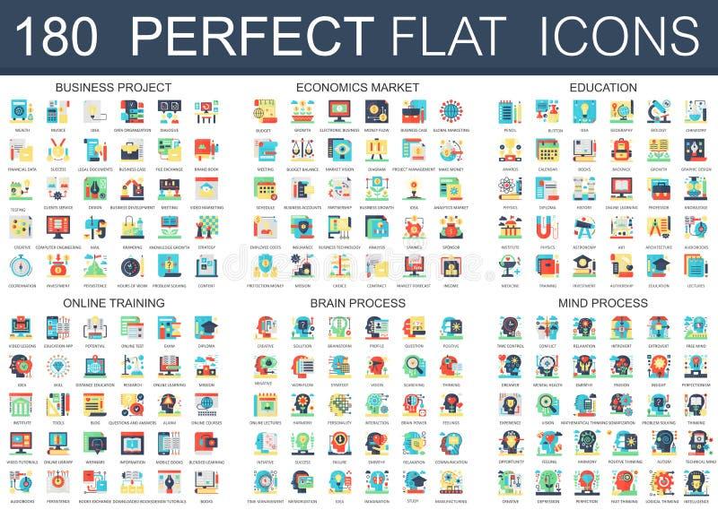180 símbolos lisos complexos do conceito dos ícones do vetor do negócio projetam-se, mercado da economia, educação, treinamento e ilustração stock