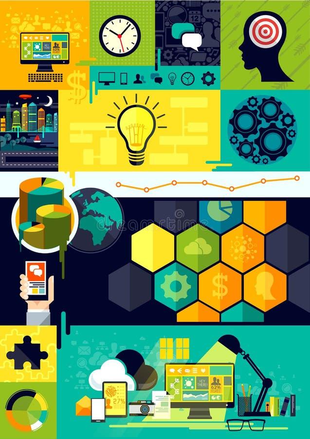 Símbolos lisos de Infographic do projeto ilustração stock
