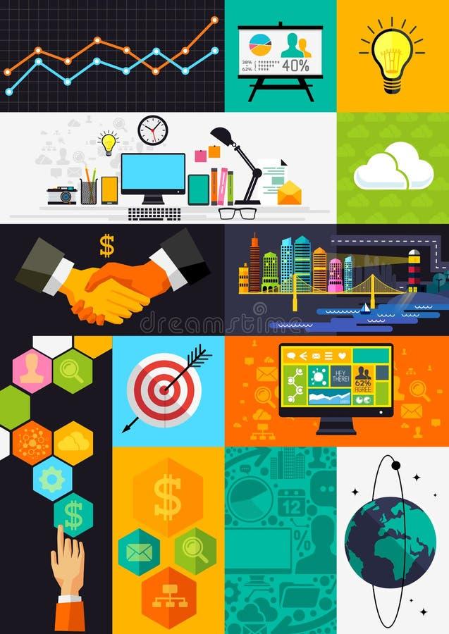 Símbolos lisos de Infographic do projeto ilustração royalty free