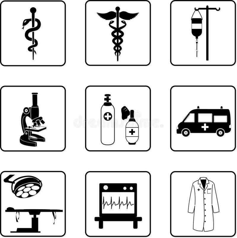 Símbolos médicos y equipo stock de ilustración