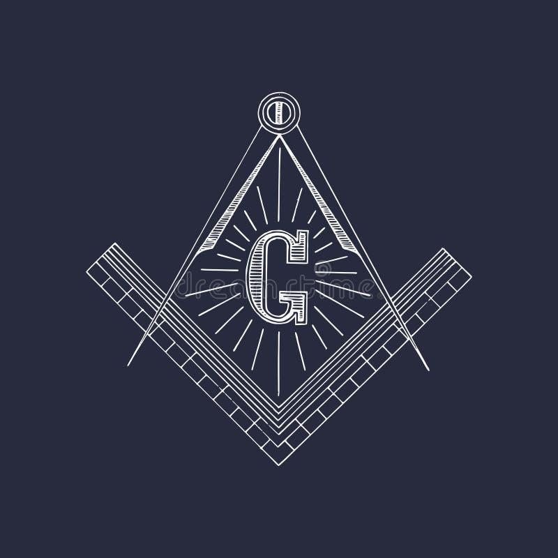 Símbolos maçônicos do quadrado e do compasso Logotipo tirado mão da maçonaria, emblema Ilustração do vetor de Illuminati ilustração do vetor