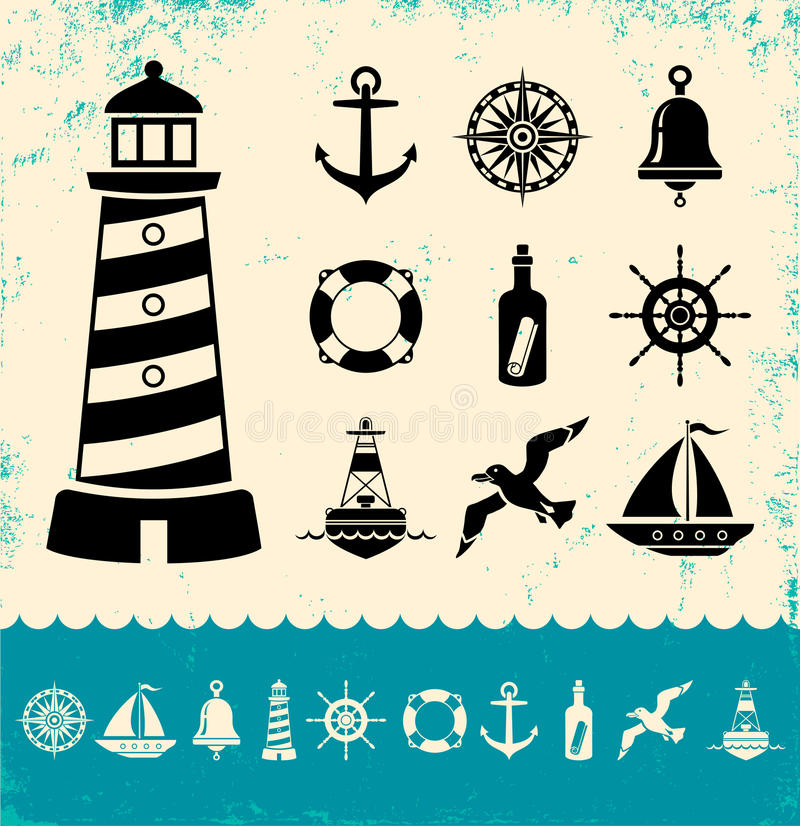 Símbolos marinhos ilustração stock