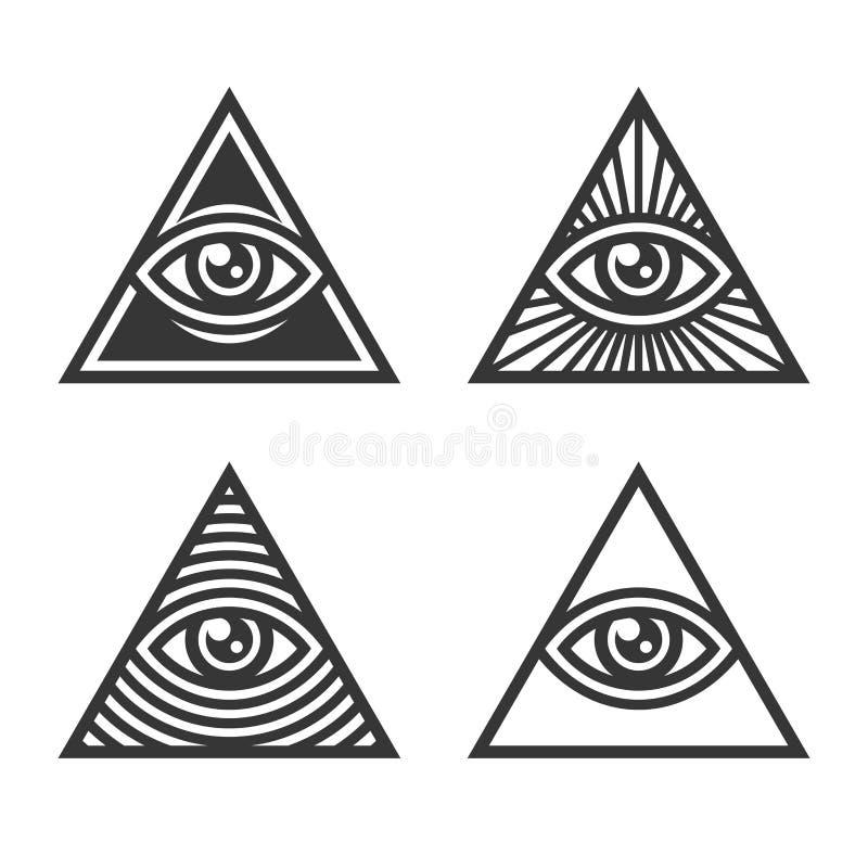 Símbolos masónicos de Illuminati, ojo en muestra del triángulo Vector stock de ilustración
