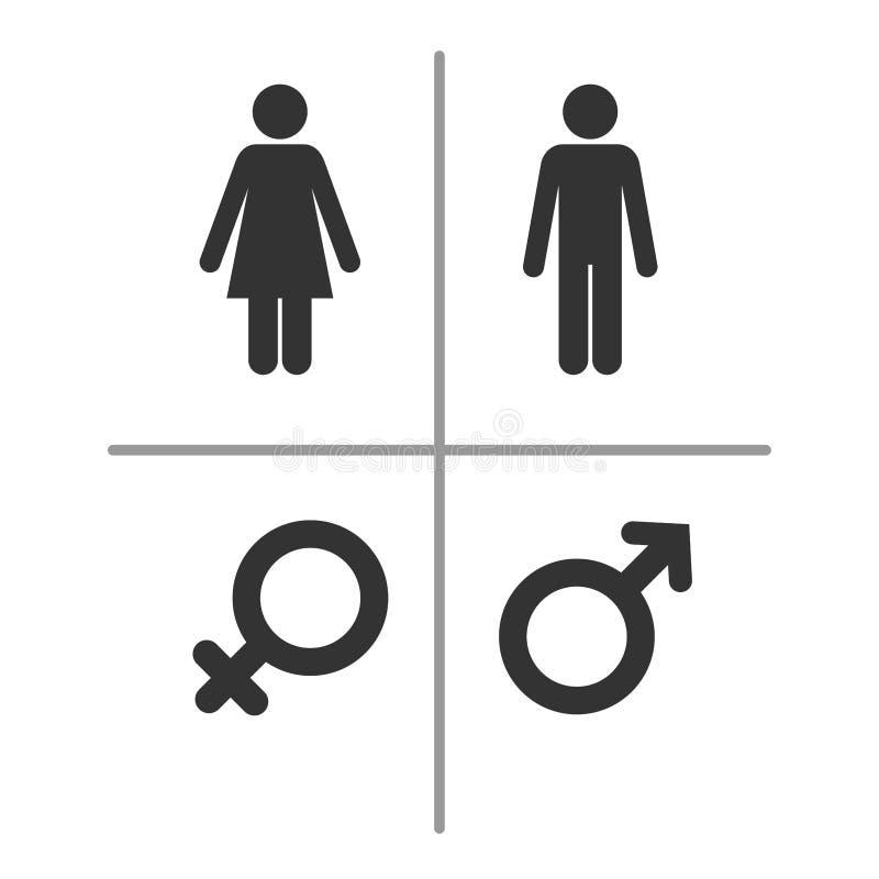 Símbolos masculinos e fêmeas ilustração stock