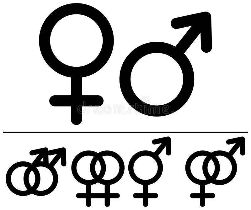 Símbolos masculinos e fêmeas. ilustração stock