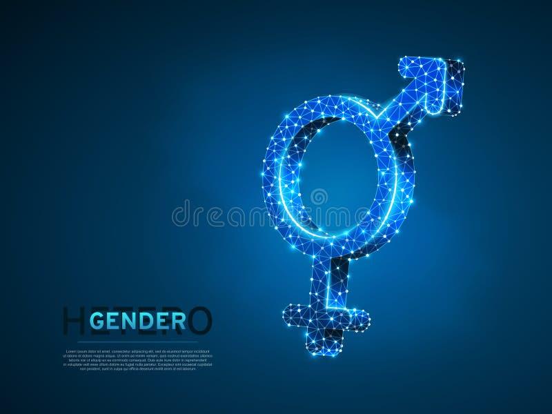 Símbolos masculinos e fêmeas do género Wireframe 3d digital Baixo vetor poli LGBT de néon poligonal do sumário da heterossexualid ilustração do vetor