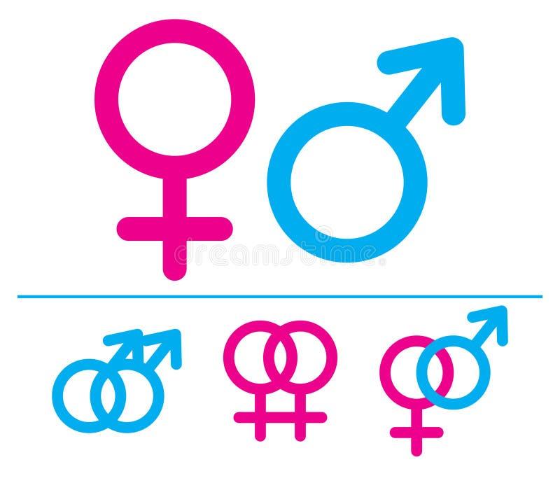 Símbolos masculinos y femeninos. imágenes de archivo libres de regalías