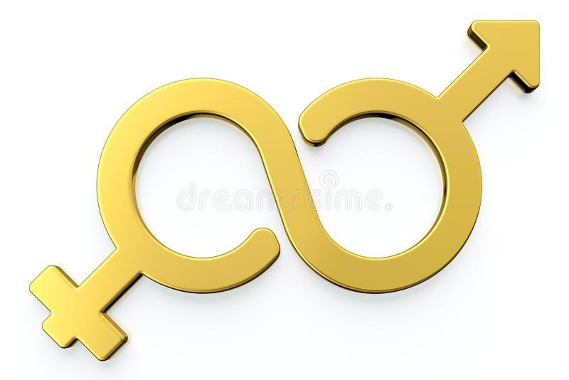 Símbolos masculinos y femeninos del género. stock de ilustración