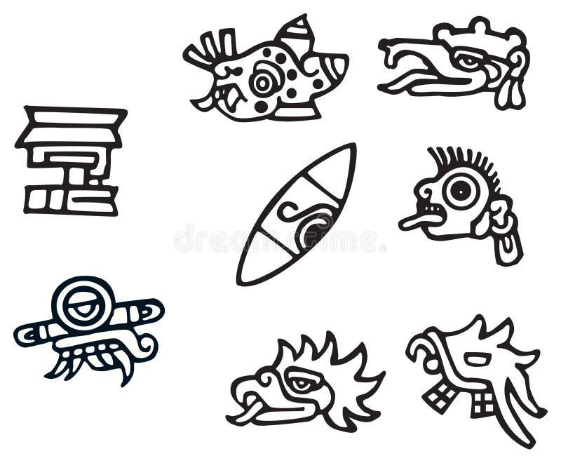 Símbolos mayas, grandes ilustraciones para los tatuajes stock de ilustración
