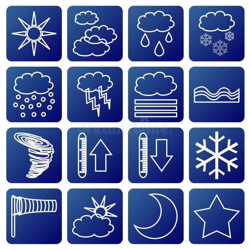 Símbolos meteorológicos ilustração stock