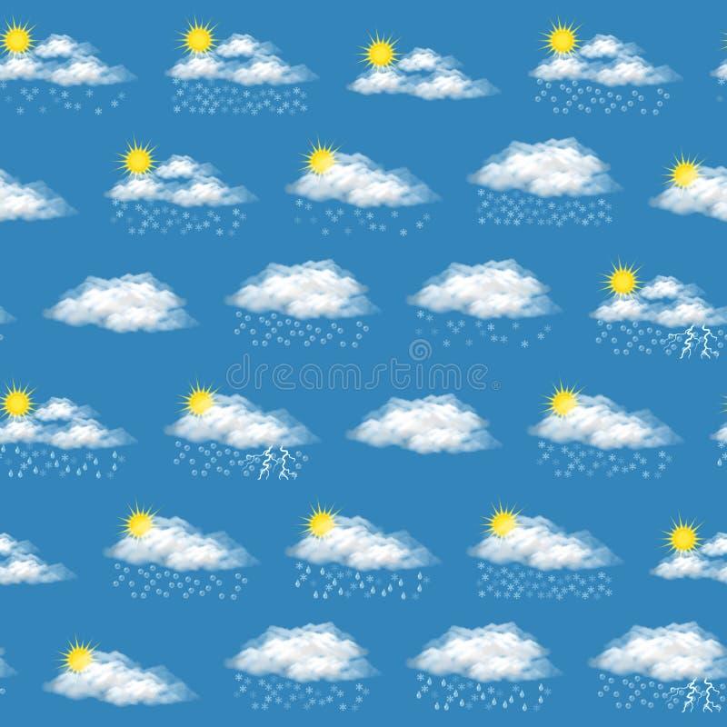 Símbolos meteorológicos, inconsútiles ilustración del vector