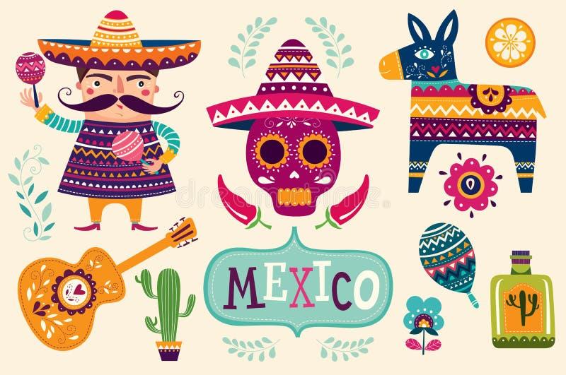 Símbolos mexicanos ilustração stock