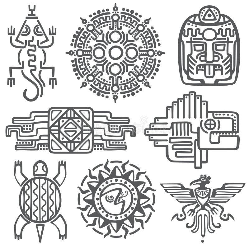 Símbolos mexicanos antigos da mitologia do vetor asteca americano, testes padrões nativos do totem da cultura maia ilustração stock