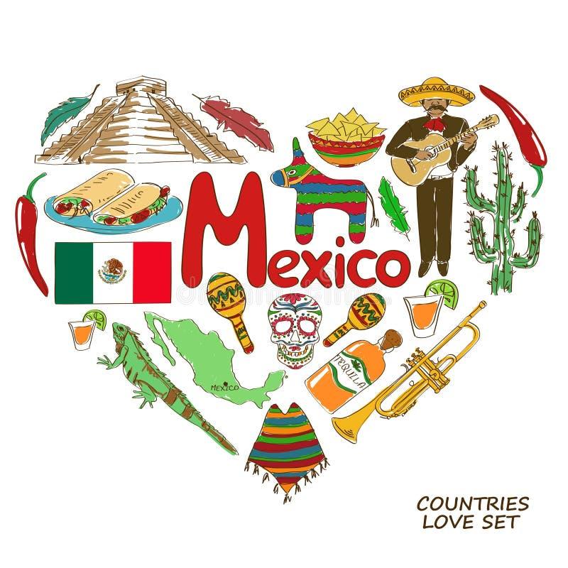 Símbolos mexicanos en concepto de la forma del corazón libre illustration