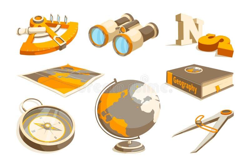 Símbolos monocromáticos del vector de la exploración y de la geografía ilustración del vector