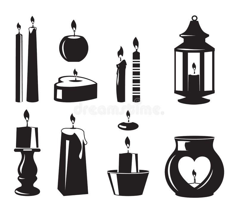 Símbolos monocromáticos do vetor das velas para a festa de anos ilustração royalty free