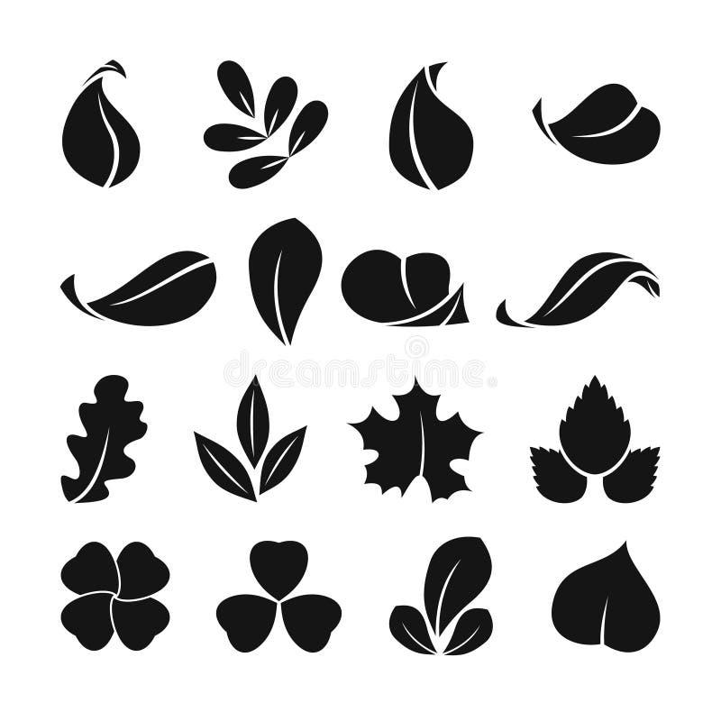 Símbolos monocromáticos negros de la hoja de la primavera Formas del vector Aislante determinado del icono del verano en el fondo ilustración del vector
