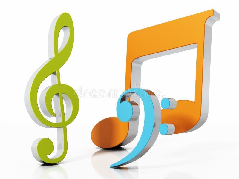 Símbolos musicais isolados no fundo branco ilustração 3D ilustração stock