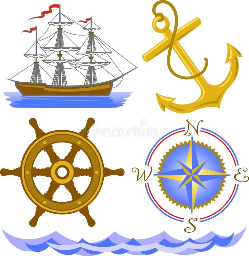 Símbolos náuticos ilustração royalty free