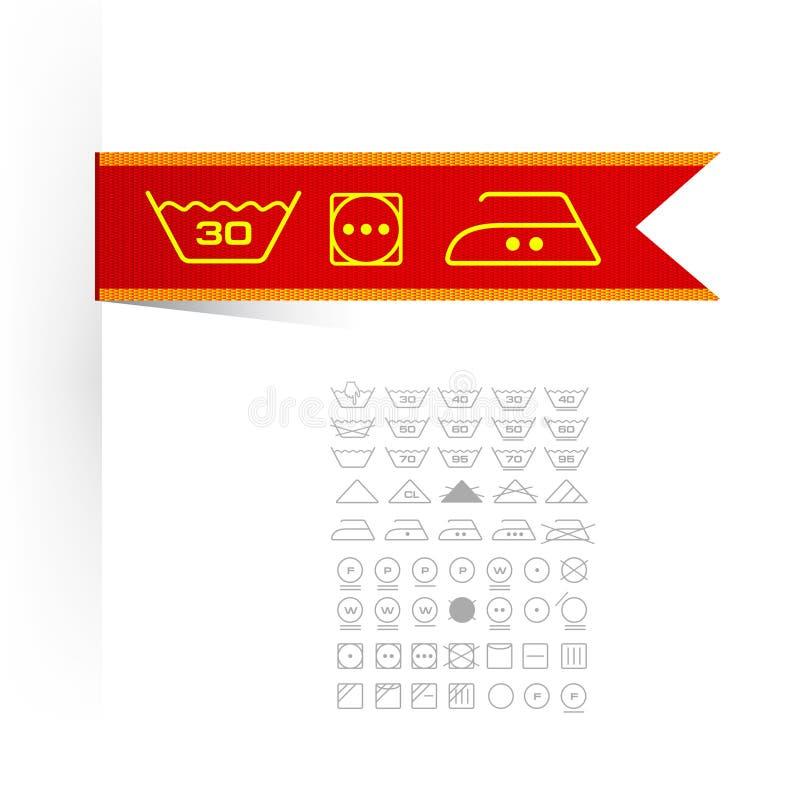 Símbolos na roupa da etiqueta ilustração do vetor