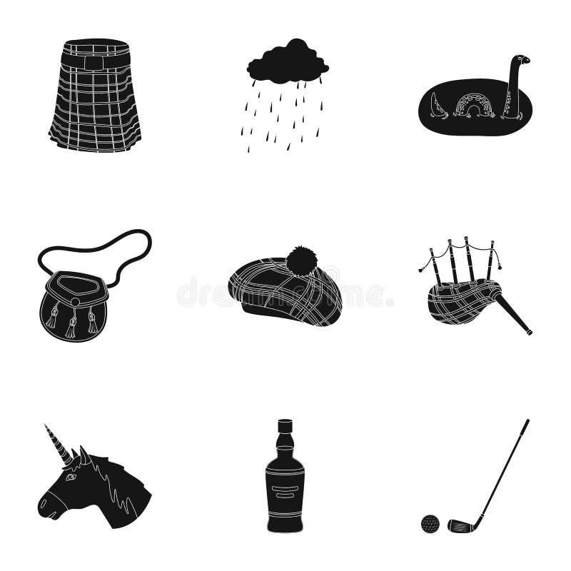Símbolos nacionais de Escócia Atrações escocesas Ícone do país de Escócia na coleção do grupo no símbolo preto do vetor do estilo ilustração do vetor