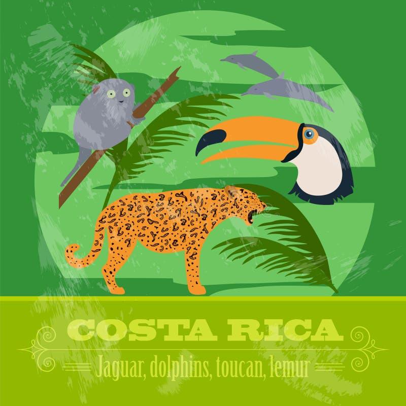 Símbolos nacionales de Costa Rica Delfínes, jaguar, tucán, lémur Re libre illustration