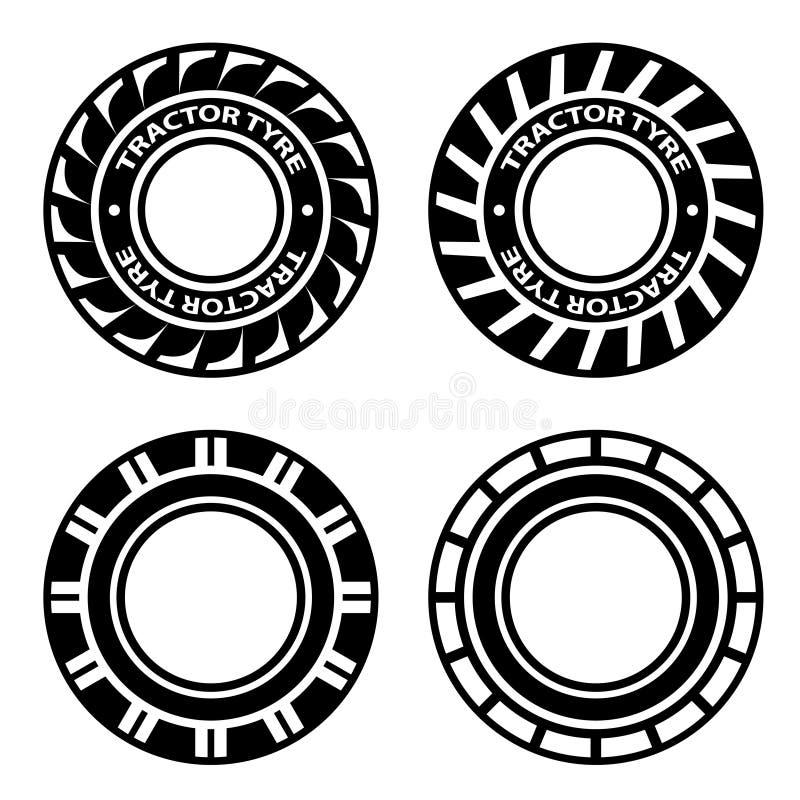 Símbolos negros del neumático del tractor stock de ilustración