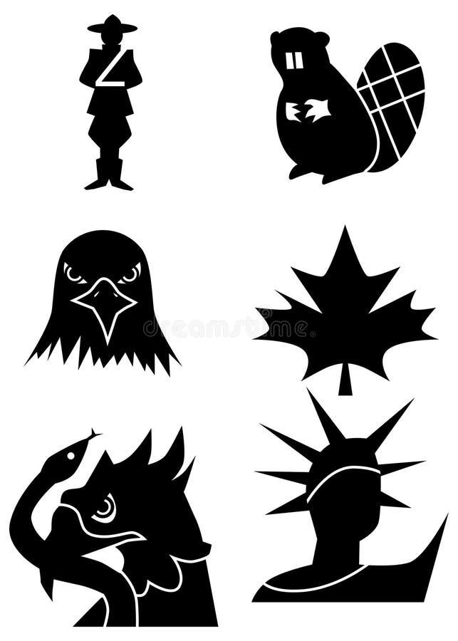 Símbolos norte-americanos ilustração stock