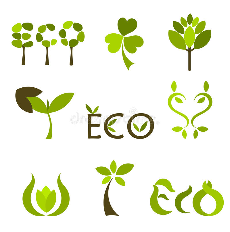 Símbolos o insignias del vector de la naturaleza stock de ilustración