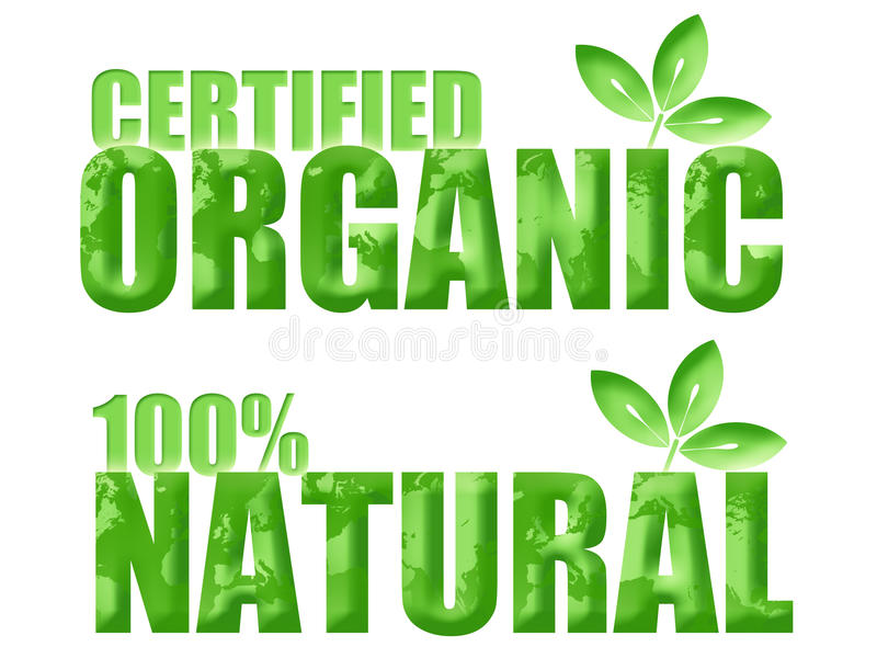 Símbolos orgánicos y naturales certificados ilustración del vector