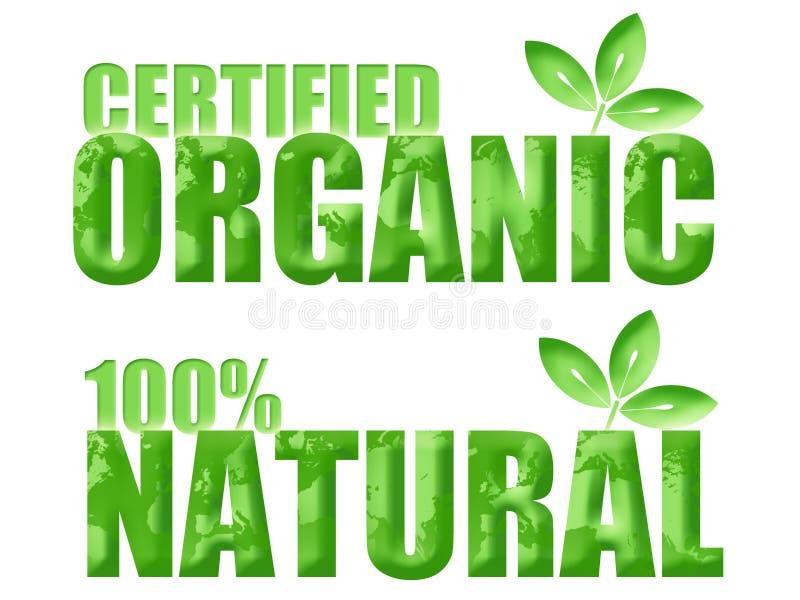 Símbolos orgânicos e naturais certificados ilustração do vetor