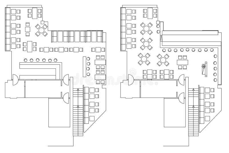 Símbolos padrão da mobília do café em plantas baixas ilustração do vetor