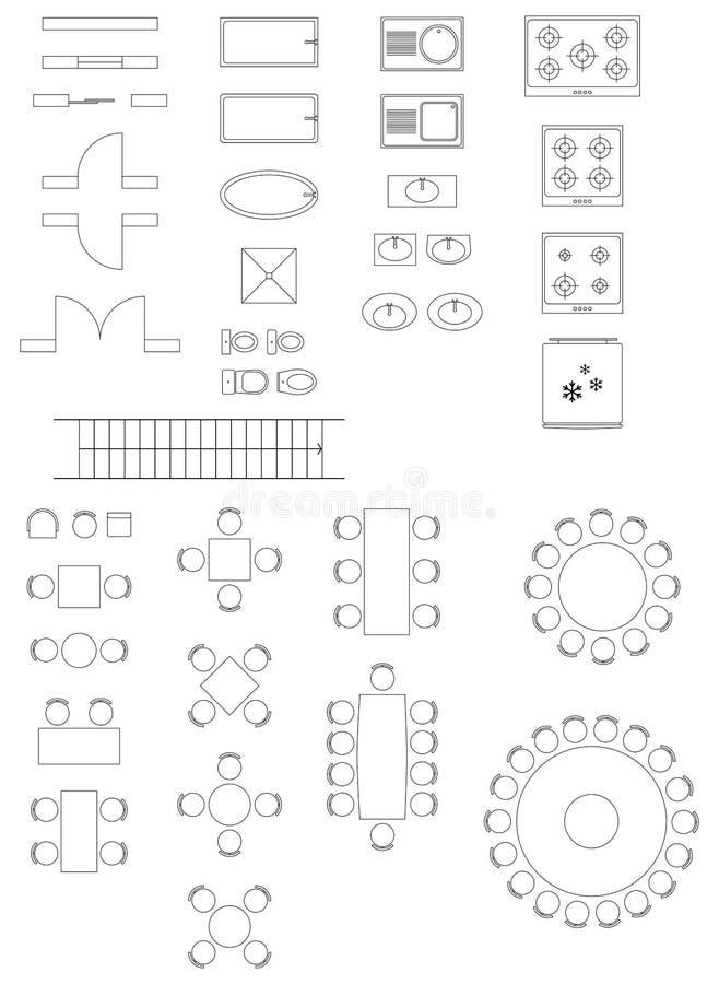 Símbolos padrão usados em planos da arquitetura ilustração stock